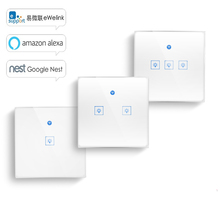WS WiFi  APP/ Touch Control Wall Light Switch 1/2/3 Gang Panel Wall Touch Light Switch Smart google Home with Alexa