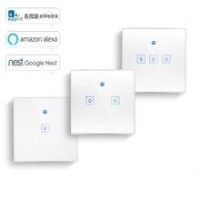 Ws wifi app/interruptor de luz de parede de controle de toque 1/2/3 gang painel interruptor de luz de toque de parede inteligente google casa com alexa
