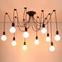 الحديث كبير العنكبوت الصناعية الأسود vintage قلادة مصباح لوفت led 14 رؤساء E27 مصابيح تعليق للزينة لغرفة المعيشة المطاعم المطبخ-في أضواء قلادة من مصابيح وإضاءات على