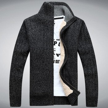 Winter Classic Mens Cardigan Fleece Lining Thicken Warm Coat Stand Collar Casual Zipper Sueter Hombre Sweater Outerwear Coats