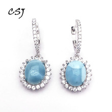 CSJ Natural Larimar Earring Sterling 925 Silver Blue Stone 8*10 Wedding Engagement Party for Women Ladies Girls Gift