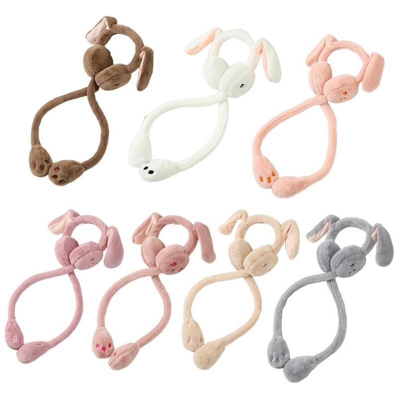 1pc Cute Earmuffs With Moving Rabbit Ears For Women's Earmuffs Winter Windproof Ear Warmer Moving Earmuffs Warmer Fur Headphone