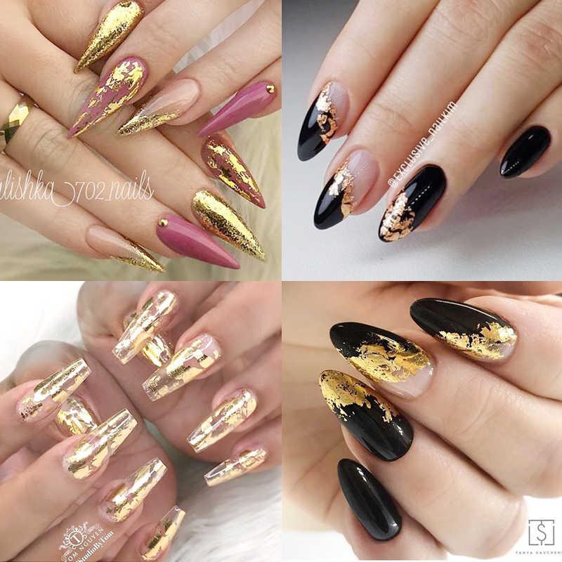 1 ม้วน Rose Gold เล็บฟอยล์ sparkly Sky Glitter Nail Art Transfer สติกเกอร์เล็บ