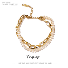 Yhpup 18 K Stainless Steel Natural Pearls Double Layer Bracelet Bangle Women Jewelry Elegant Metal Chain Bracelet Gift 2020