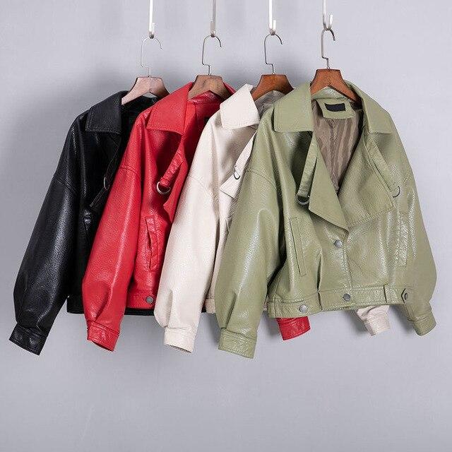 Femmes Faux cuir veste manches chauve-souris Vintage Biker manteau court fermeture éclair moteur PU rouge veste printemps automne rue cuir manteau