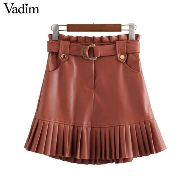 Vadim women chic PU leather skirt ruffles bow tie sashes pockets zipper fly pleated female basic fashion mini skirts mujer BA779 1