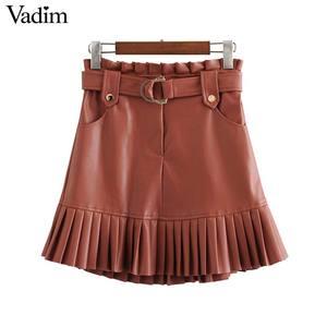Image 1 - Vadim ผู้หญิง Chic PU หนังกระโปรง ruffles Bow Tie sashes กระเป๋าซิปจีบหญิง Basic MINI กระโปรง mujer BA779