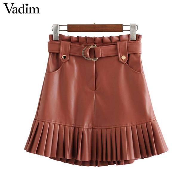 Vadim ผู้หญิง Chic PU หนังกระโปรง ruffles Bow Tie sashes กระเป๋าซิปจีบหญิง Basic MINI กระโปรง mujer BA779