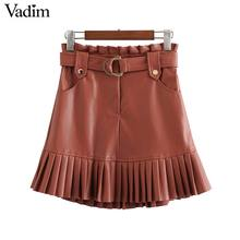 Vadim women chic PU leather skirt ruffles bow tie sashes pockets zipper fly pleated female basic fashion mini skirts mujer BA779