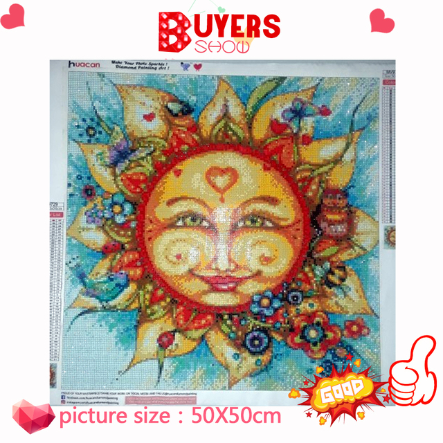 HUACAN 5d Diamond Painting Full Square Round Sun Cartoon Diamond Embroidery Sale Pictures With Rhinestones Hobby