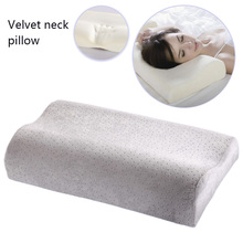 Memory Foam Pillow with Solid Velvet Pillowcase Adults Neck-Protecting for Bedroom Cervical Health Care Improve Soft Sleeping