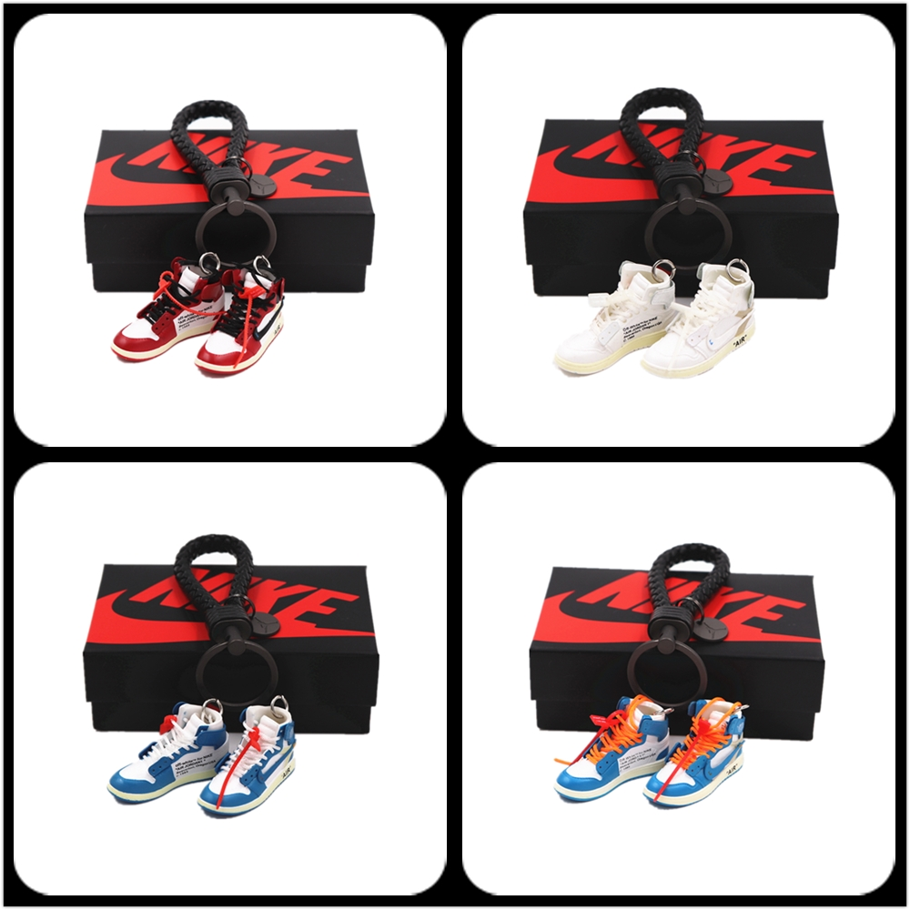 OFF-WHITE Personality Creative Pendant Keychain 3d Stereo Basketball Shoe Model Car Key Chain Couple Christmas Gift(2pcs)