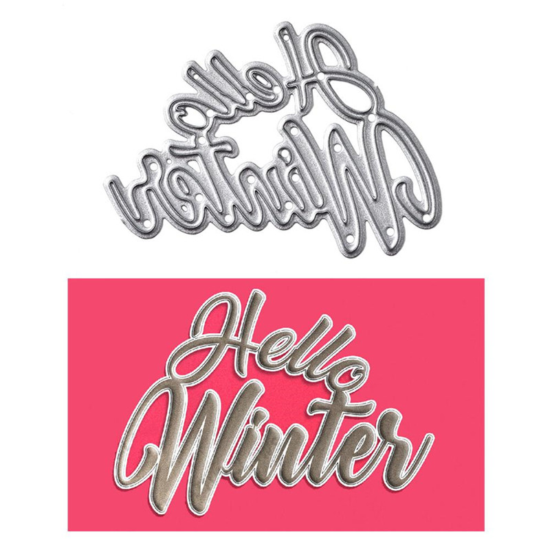 InLoveArts Hello Winter Letter Frame Metal Cutting Dies for Scrapbooking Making Cards Album Decorative Embossing Crafts Stencil