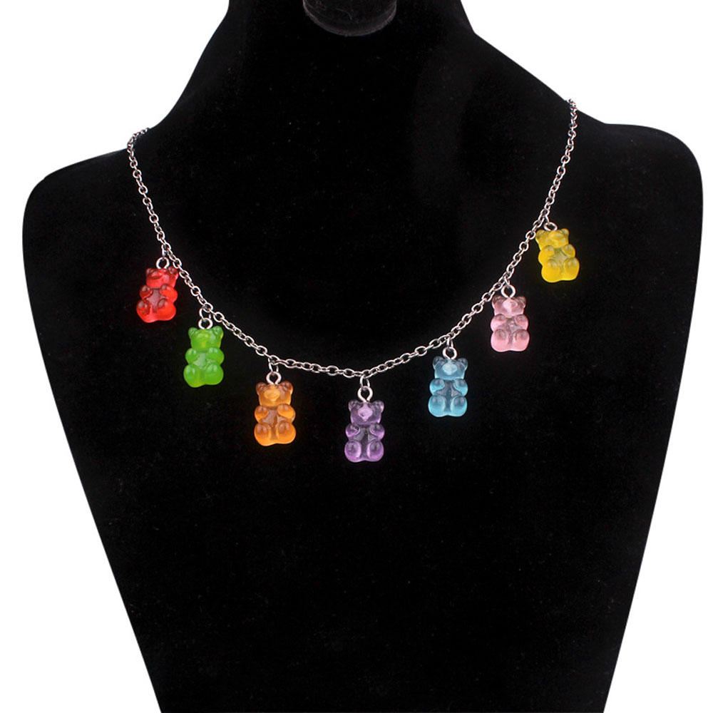Fashion Multicolor Transparent Bear Necklace Cute Candy Color Resin Gummy Bear Pendant Necklace Women Jewelry(China)
