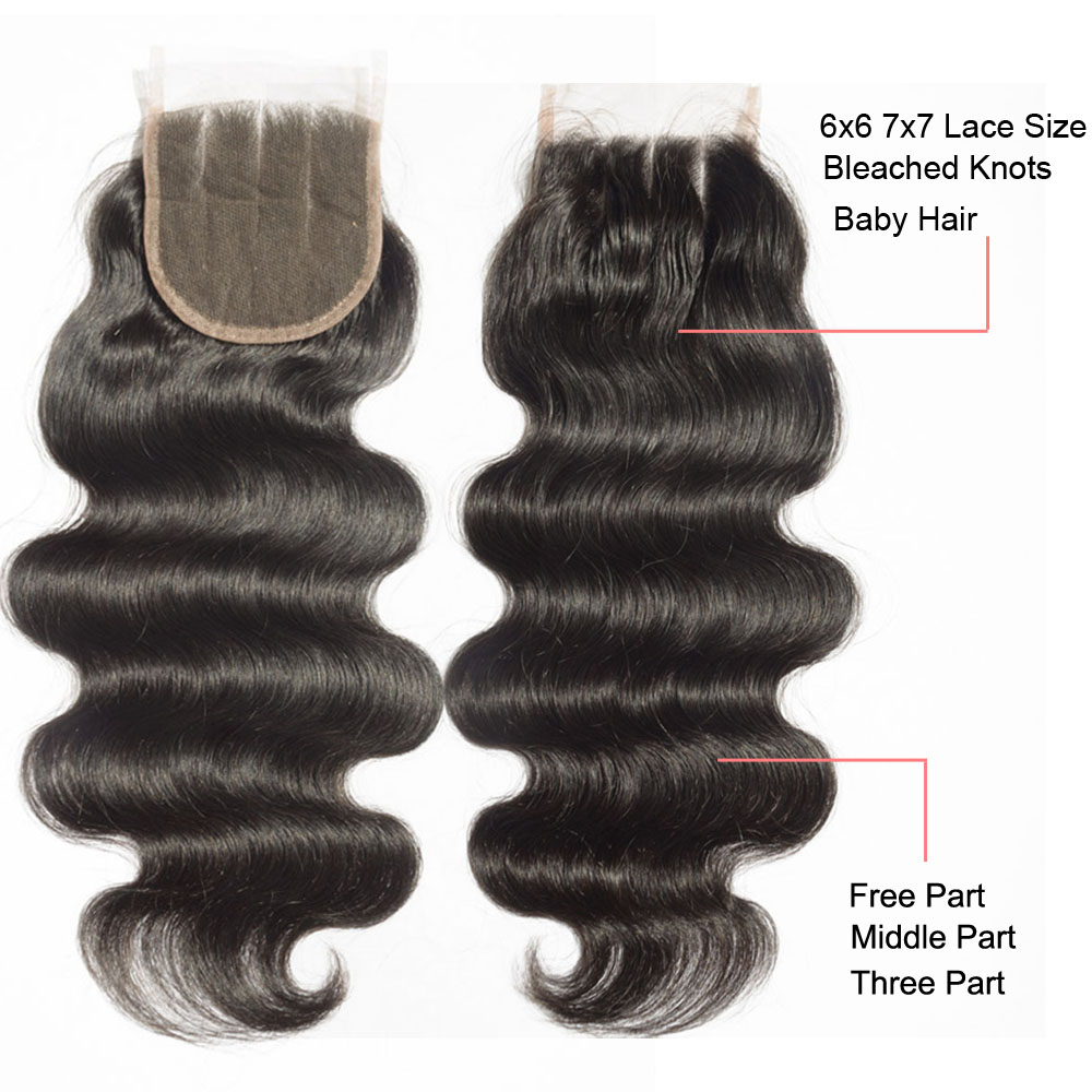 6x6 Lace Closure With Baby Hair Peruvian Body Wave Closure Bleached Knots 5X5 Closure Virgin Human Hair Middle Part Closure