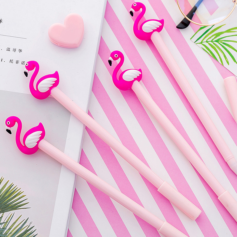 4 PCS Kawaii Cartoon 0.38mm Writing Pen Lucky Pink Flamingo Gel Pen Signature Pen Escolar Papelaria  School Office Supply