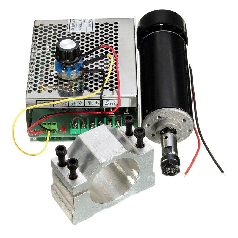 500W broche refroidie par Air ER11 CNC Kit de moteur de broche + alimentation réglable 52MM pinces ER11 pince mandrin pour Machine à graver