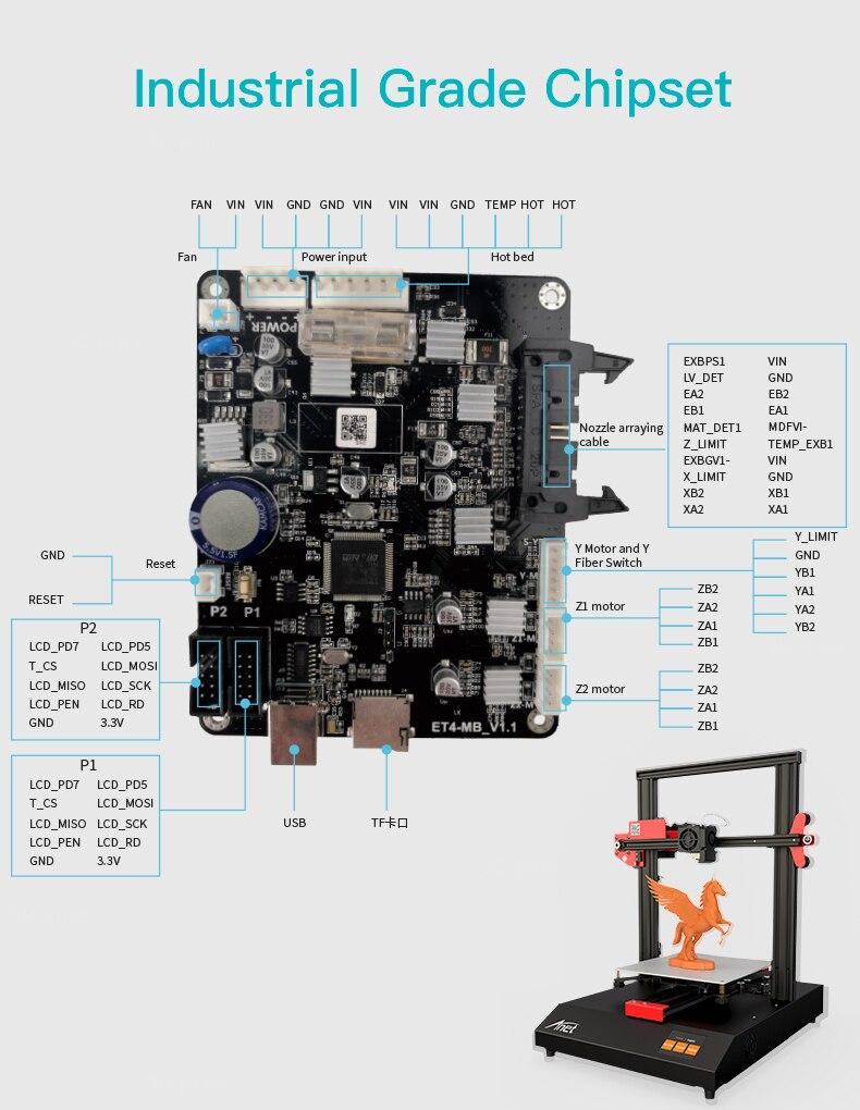 et4 + et4 pro impressora 3d placa-mãe peças