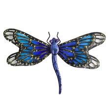 Металл синяя сказочная стрекоза настенное искусство для украшения