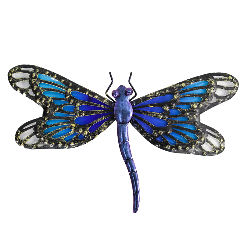 Металл Синий Фея Стрекоза Стена Работы для Сада Украшения Миниатюры Животное Открытый Статуи и Скульптуры и Миниатюры