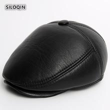 SILOQIN Quality Winter Genuine Leather Hat Men Thick Warm Berets First Layer Sheep Skin Earmuffs Middle-aged Elderly Cap Dad