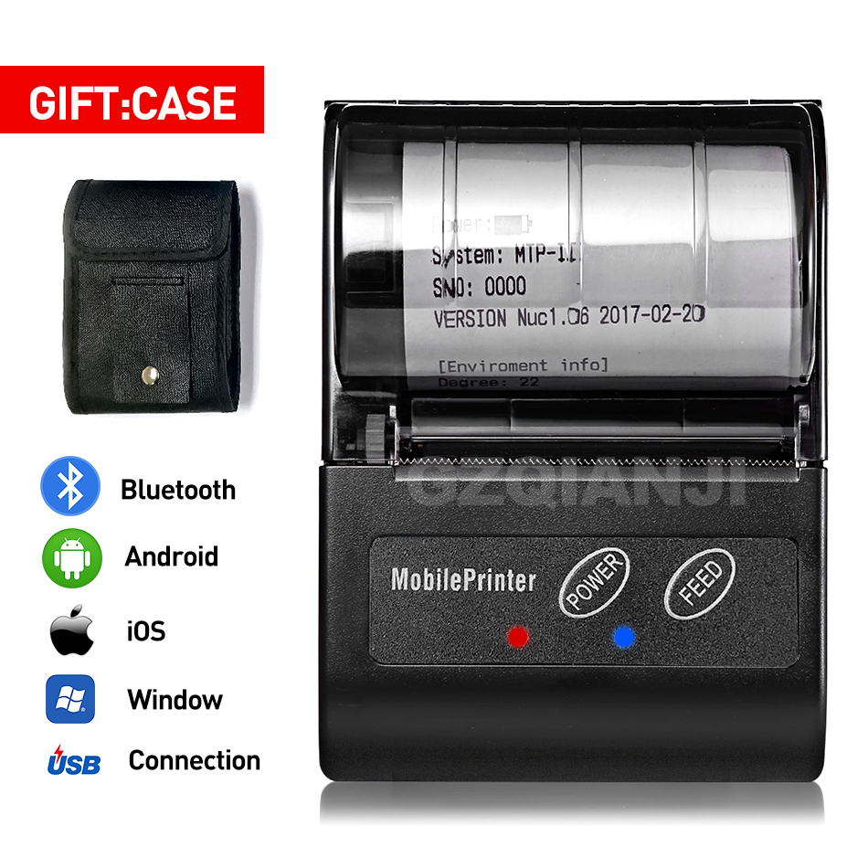 GZM5810 58MM Bluetooth Thermal Printer Portable Rechargeable Wireless Receipt Machine For Windows Android IOS 80mm/s