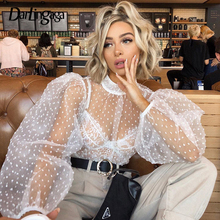 Darlingaga Fashion Chic Polka Dot Mesh Shirt Women Bubble Puff Sleeve See Throug