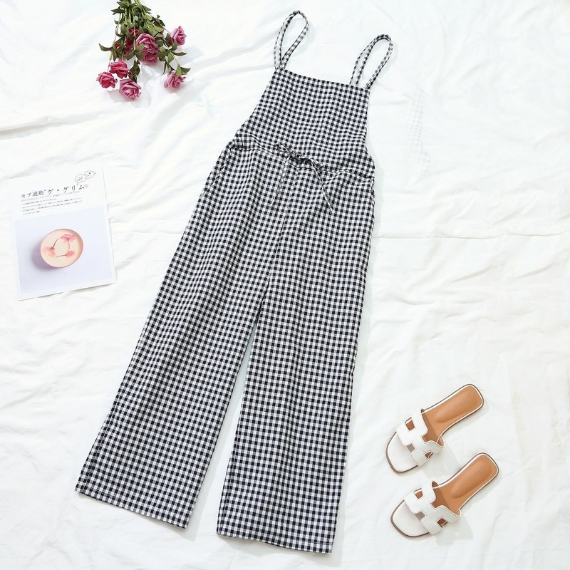 Jumpsuits Women Plaid Loose Lace Up Ankle-length Casual All-match Streetwear Leisure Korean Style Chic Daily Womens Comfortable