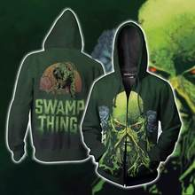 Film Green Lantern Deathstroke Hoodies Kaus Kostum Cosplay 3D Dicetak Fashion Pria Wanita Swamp Thing Berkerudung Jaket(China)