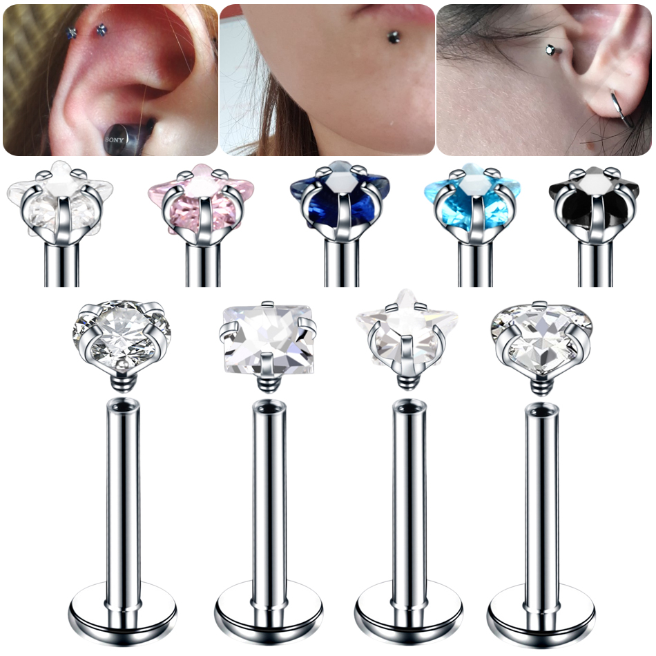 Lip-Stud Piercing Body-Jewelry Tragus Helix Stainless-Steel Ear-Cartilage Screw-Thread