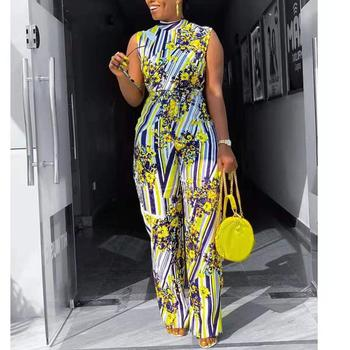 African Jumpsuits For Women 2020 Summer Elegant Sleeveless Yellow Print Sashes Long Pants Fashion Work Office Hot Sale