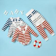 PatPat 2 sztuk Baby Boy w stylu casual w paski zestawy dla dzieci z długim rękawem Romper odzież stroje dla niemowląt zestawy ubrań dla niemowląt tanie tanio COTTON Poliester W wieku 0-6m 7-12m CN (pochodzenie) Unisex Europejskich i amerykańskich style O-neck Swetry Pełna REGULAR
