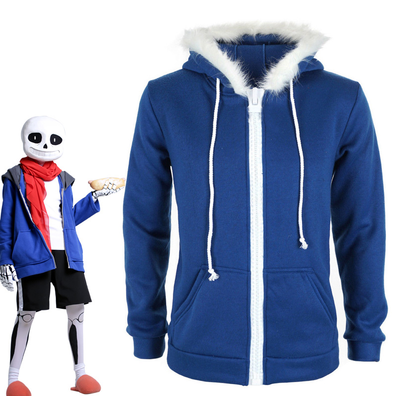 Sans Undertale Cosplay Costume Hoodies Mask FRESH SKELETON jacket sans plus velvet hooded zipper sweater animation game outfit
