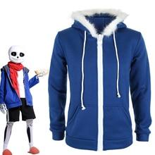 Sans Undertale Cosplay Costume Hoodies Mask FRESH SKELETON jacket sans plus velvet hooded zipper sweater animation game outfit