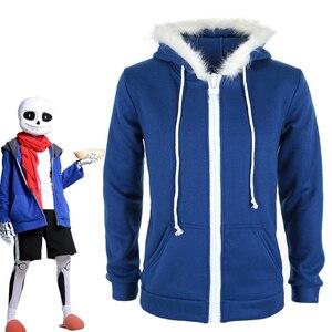 Image 1 - Sans Undertale sudaderas con capucha para disfraz de Cosplay, máscara, chaqueta con esqueleto, sans plus, suéter de terciopelo con capucha y cremallera, equipo de juego de animación