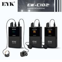 Banda EYK, micrófono inalámbrico UHF con monitor en tiempo real, recepción estable para teléfonos inteligentes con cámara de video DSLR, micrófono de solapa para video entrevista show en vivo
