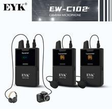 EYK – Microphone Lavalier sans fil UHF, moniteur en temps réel pour caméra DSLR, caméscope, Smartphones, réception Stable, vidéo