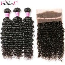 Vallbest 360 синтетический фронтальный волос с пряди, перуанские человеческие волосы с глубокой волной, 3 пучка с 360 кружевными фронтальными прям...