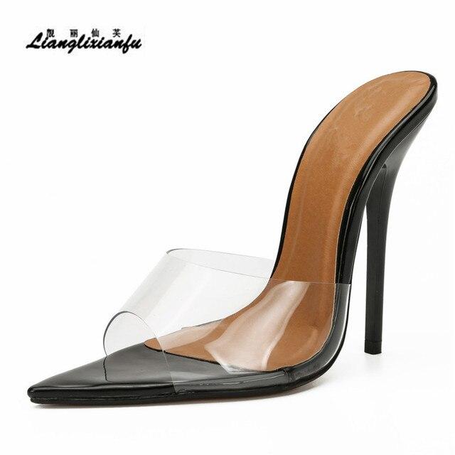 LLXF pantofle zapatos mujer US15 16 17 lato szpilki buty kobieta 13cm cienkie obcasy sandały klasyczne ślubne z lakierowanej skóry pompy