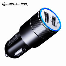 Jellico USB Car Charger 5V 2.1A Metal Dual USB Aluminum Alloy Car Charger Fast Charging Phone Charger for iPhone Samsung Xiaomi(China)