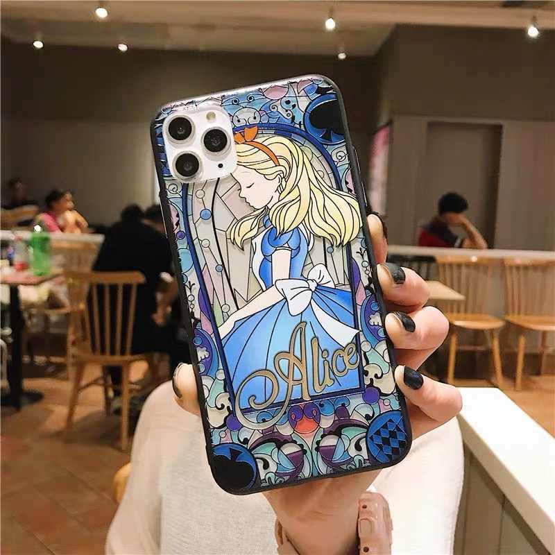 漫画アリスワンダーランドプリンセスマーメイドもつれ 3D リリーフ電話ケース用 11 プロ X Xs 最大 XR 7 8 6 6s プラスカバー