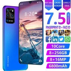 7,5 Galaxia S20U Red global de Snapdragon855 smartphone 4 Cámara Mundial 8GB RAM 256GB ROM Octa Core versión dual SIM