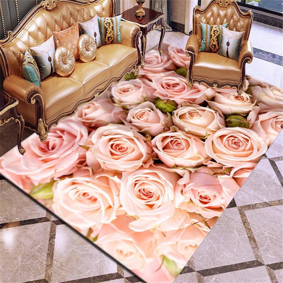 35  3D Printing Carpet Rose Flower Rug Multicolor Pink Red Wedding Carpet Antislip Living Room Carpet Large Girls Room Mat Home