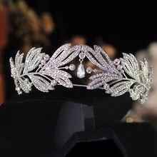 CC corona fascia per donna fasce per capelli accessori per capelli da sposa nappa da sposa forma di foglia spettacolo di lusso regina copricapo regalo HS04