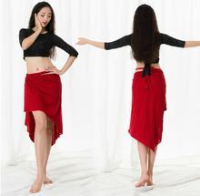 גדול גודל נשים מזרחי ריקוד תלבושות מודאלי 3 חתיכה להגדיר ארוך שרוול ריקוד ללבוש חולצה צד סדק חצאית עם תחת צפצף לבן XL