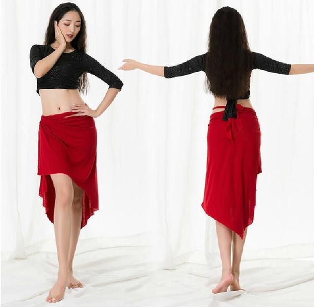 Big Size Vrouwen Oosterse Dans Kostuum Modale 3 Delige Set Lange Mouw Dans Dragen Blouse Side Slit Rok Met Onder broek Wit XL