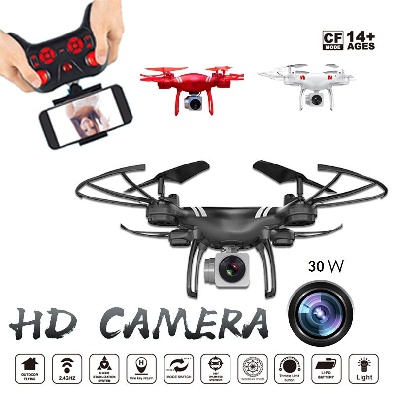 KY101 RC Drone With Camera HD 480P Wide Angle Selfie Drone Professional Foldable Quadcopter Headless One Key Return Drones