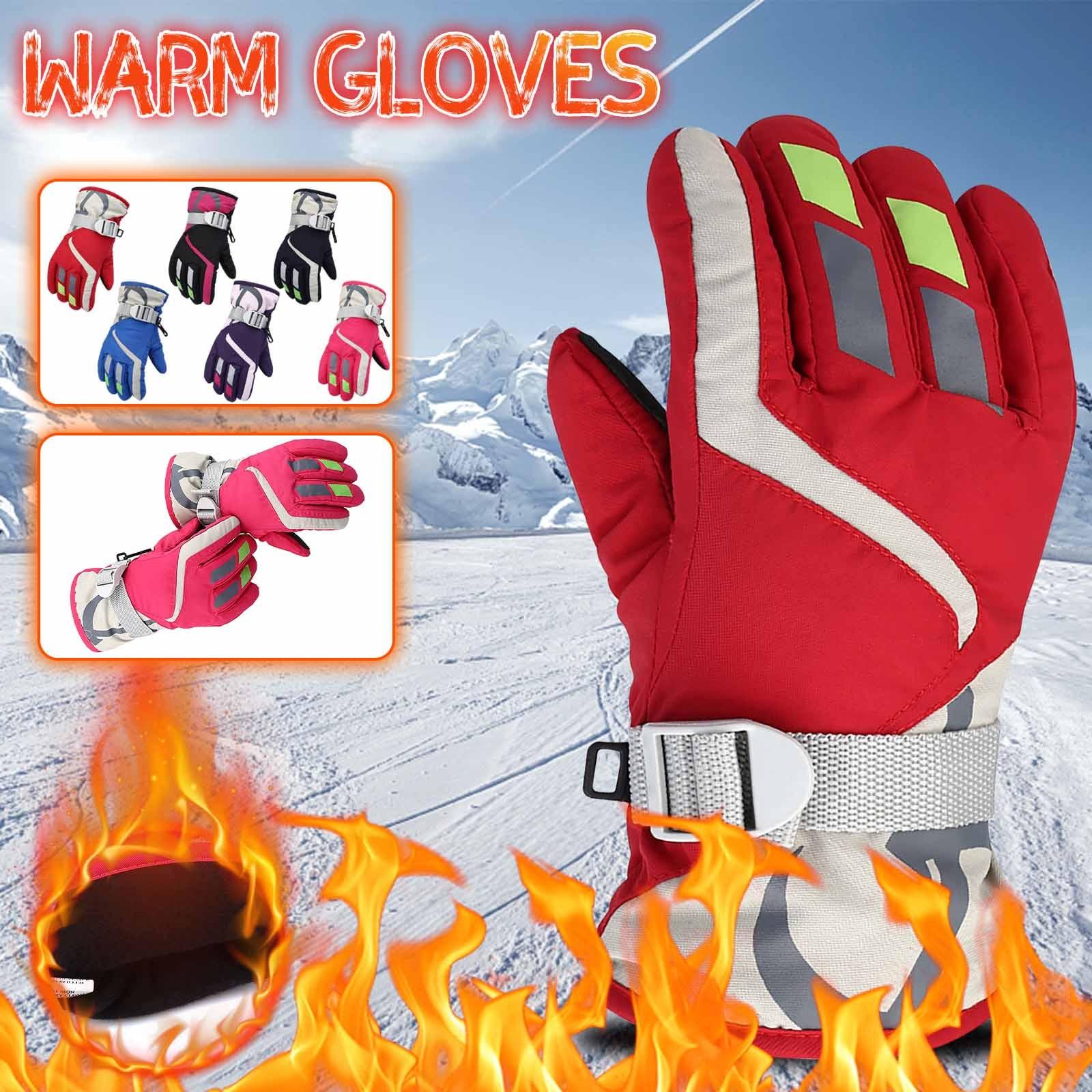 Зимние лыжные перчатки для мальчиков и девочек, 1 пара, ветрозащитные рукавицы для снега, уличные спортивные Сверхлегкие Водонепроницаемые ...
