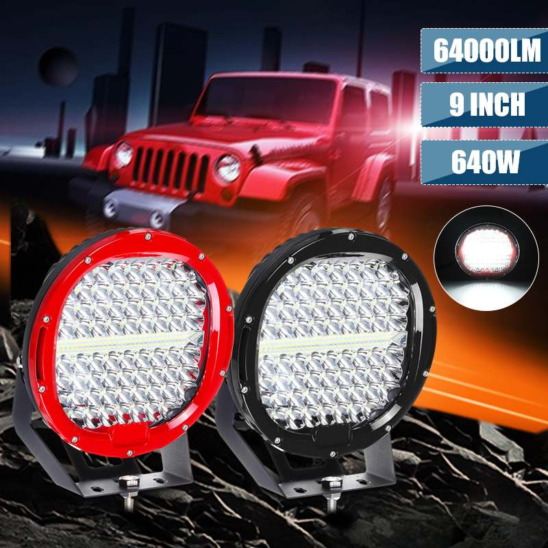 Round 9inch 640W 12V <font><b>Led</b></font> Driving Work <font><b>Light</b></font> For 4x4 <font><b>Offroad</b></font> Truck Boat 4WD SUV ATV <font><b>CAR</b></font> 12V 24V External <font><b>Lights</b></font> free cover image