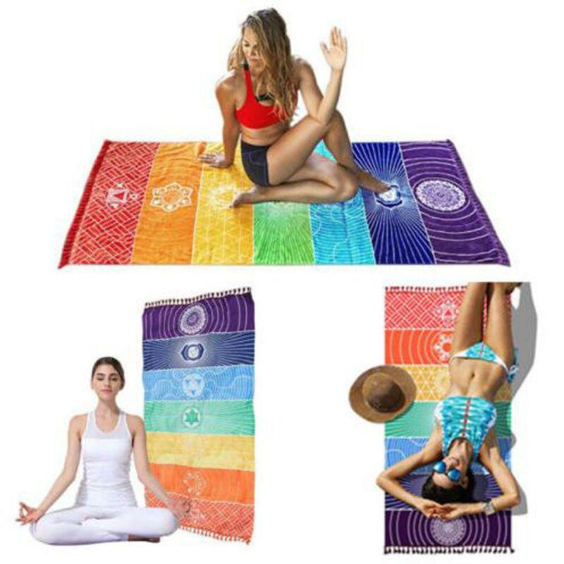 NEW Rainbow Stripes Scarf Bohemia Wall Hanging India Mandala Blanket 7 Chakra Colored Tapestry Summer Boho Beach Towel Yoga Mat